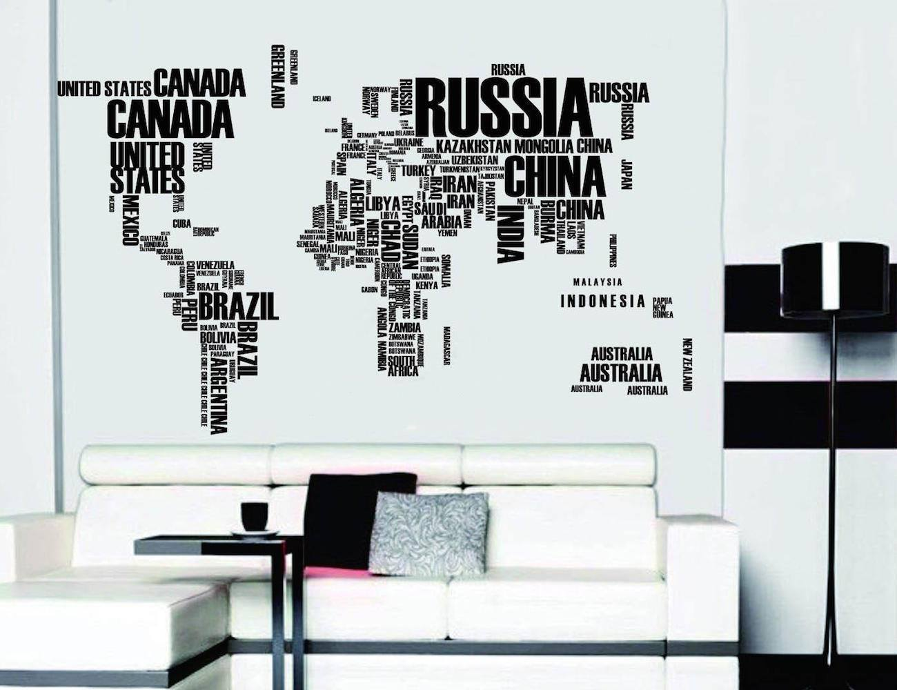 Word world map vinyl wall sticker travel bible shop word gumiabroncs Choice Image