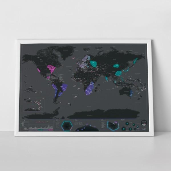 New! World Capitals Scratch Off Map Dark