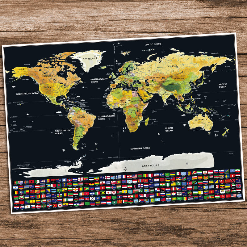 Premium World Scratch Map With Flags Travel Bible Shop - Watercolor scratch off map