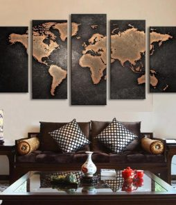 5 Panel World Map Oil Painting