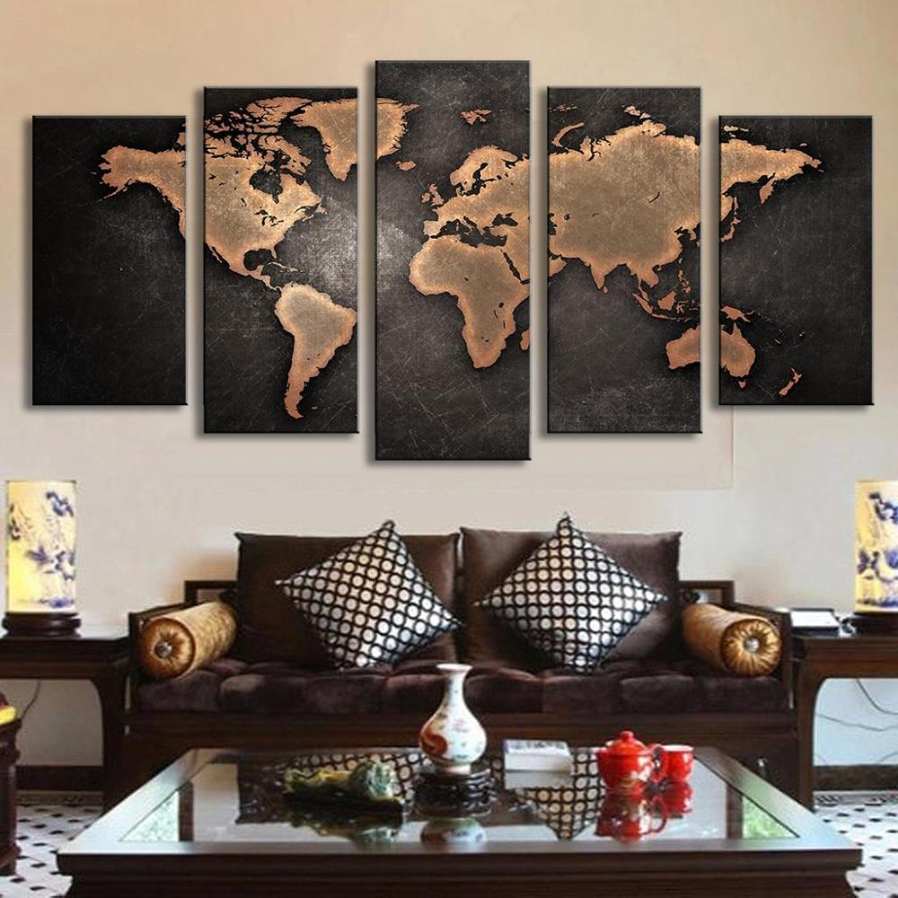 5 panel world map oil painting travel bible shop gumiabroncs