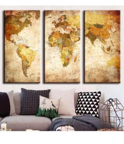 3 Panel Vintage World Map Painting