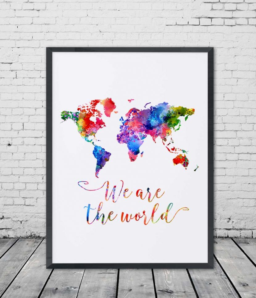 World map watercolor poster we are the world travel bible shop world map watercolor poster we are the world gumiabroncs Gallery