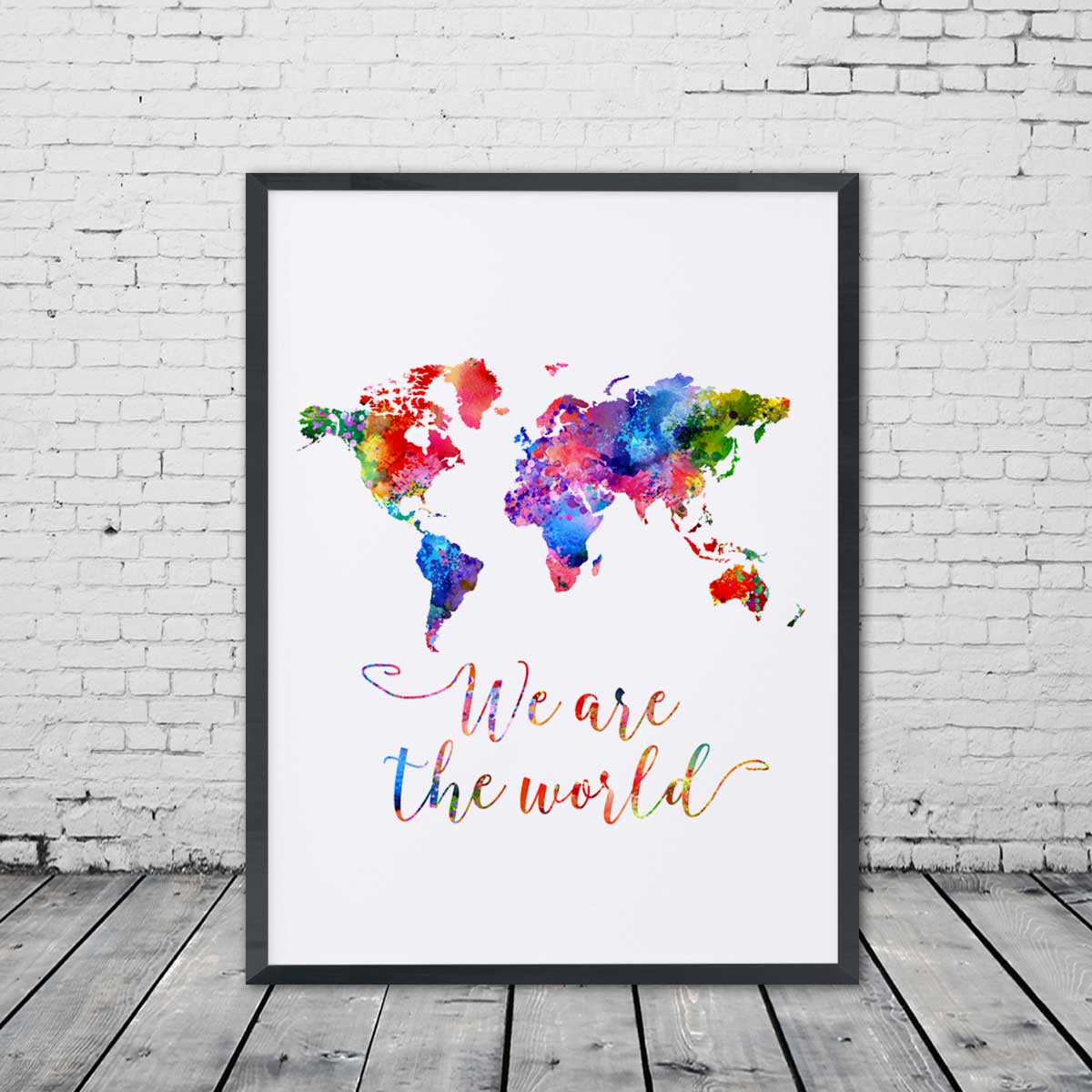 World map watercolor poster we are the world travel bible shop out of stock gumiabroncs Choice Image