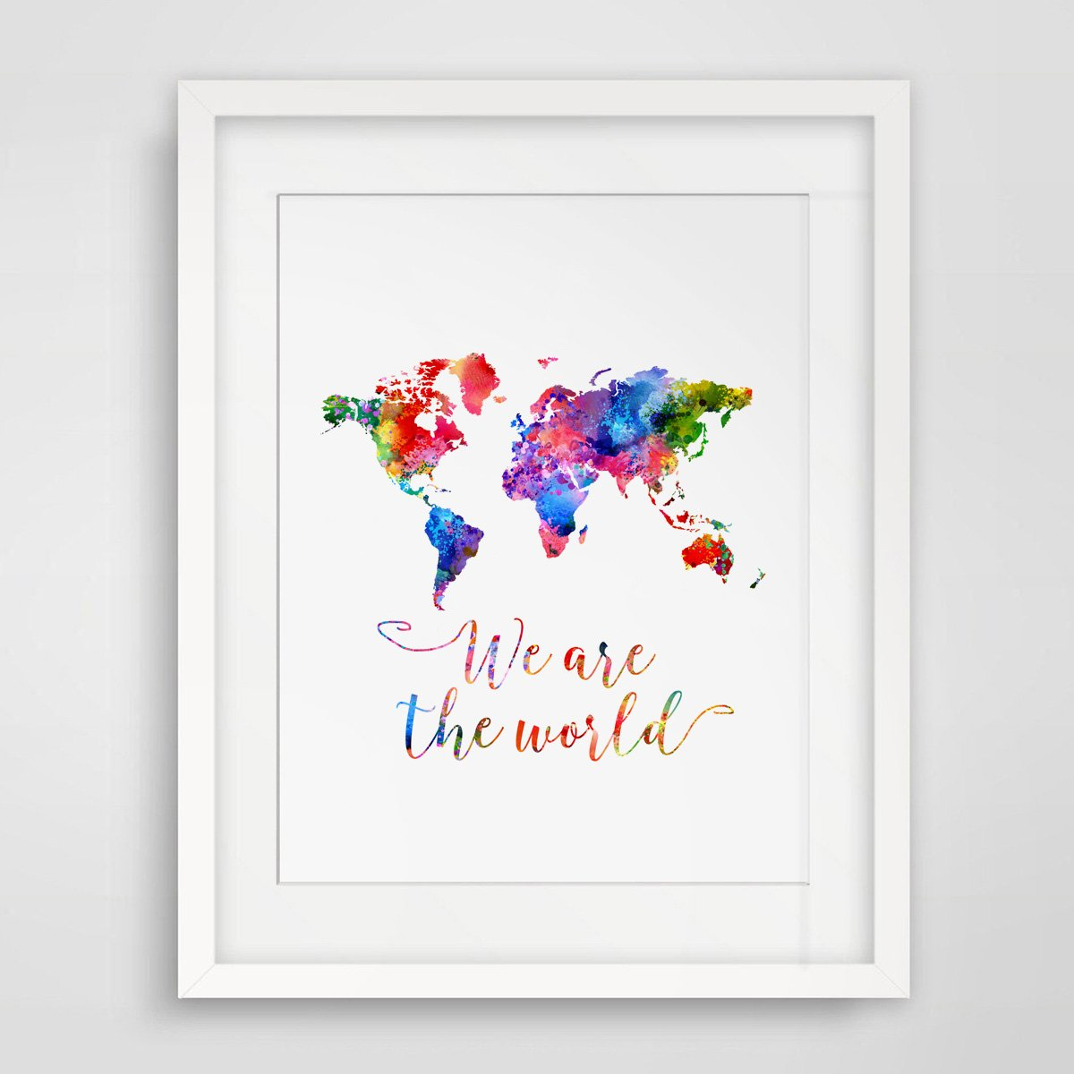 World Map Watercolor Poster - We Are The World