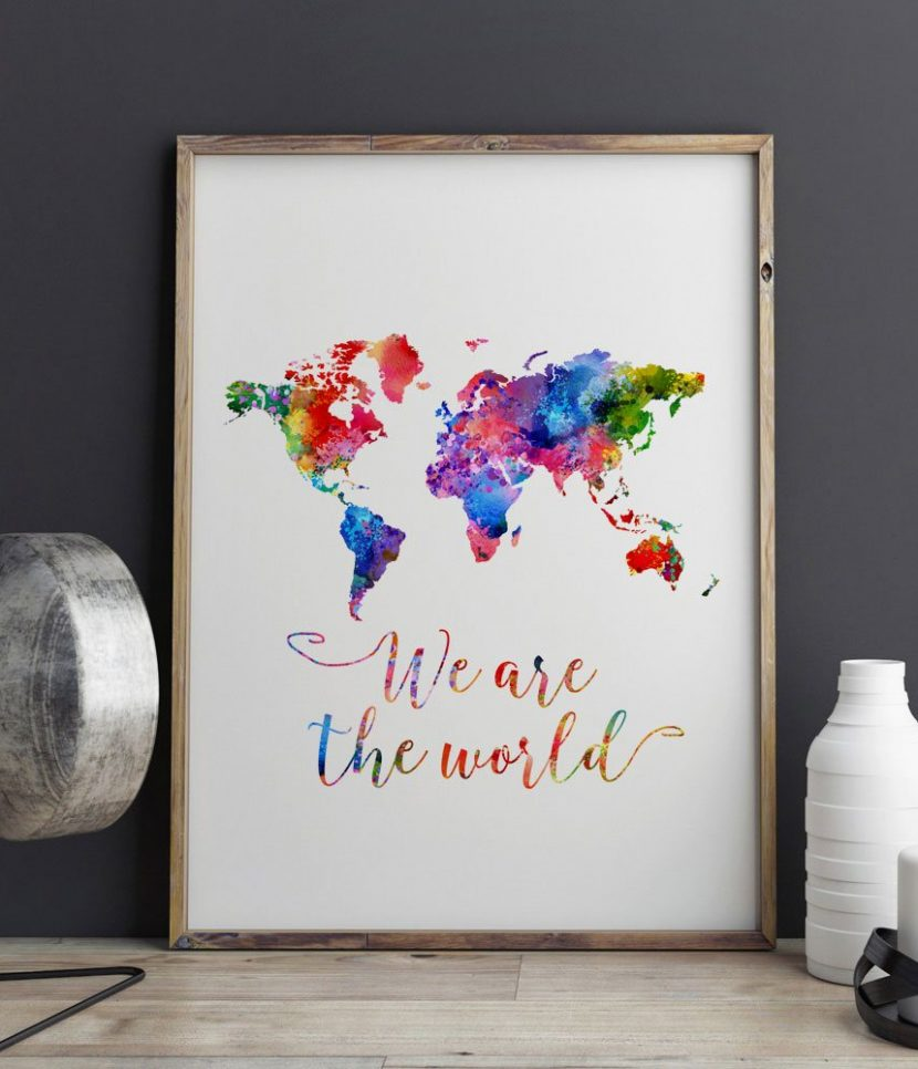 World map watercolor poster we are the world travel bible shop world map watercolor poster we are the world gumiabroncs Images