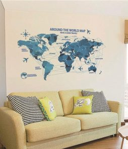 Around the World Plane Route Map Wall Sticker