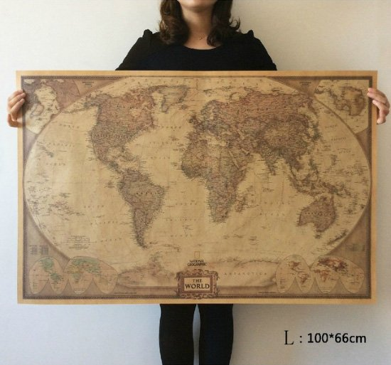 Retro World Map Poster