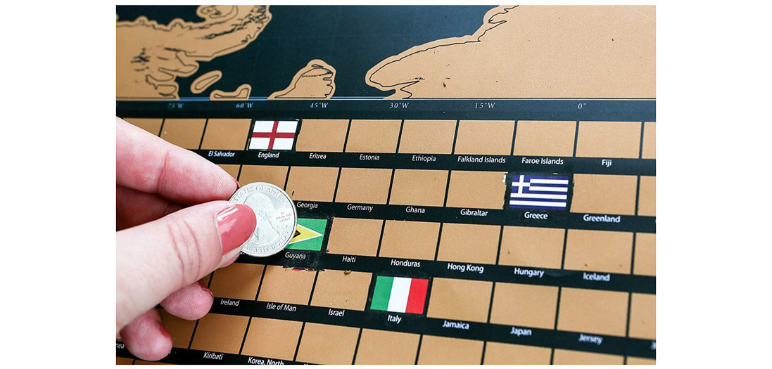 Premium World Scratch Map With Flags Travel Bible Shop