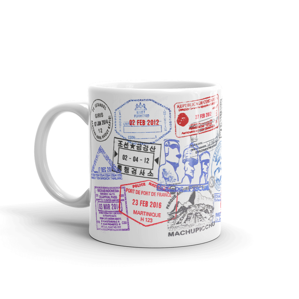 custom passport stamp coffee mug travel bible shop. Black Bedroom Furniture Sets. Home Design Ideas