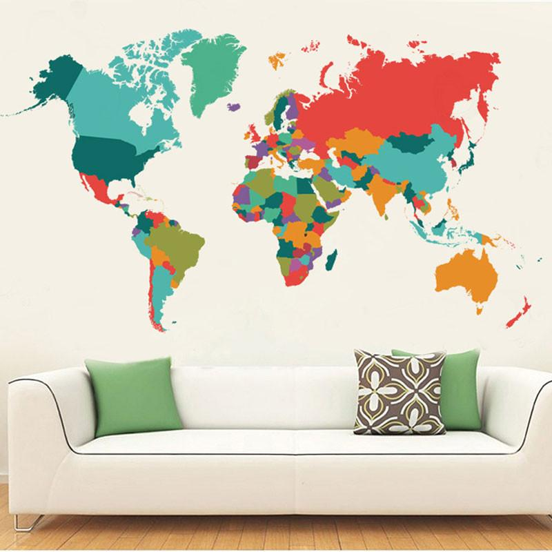 World map color wall sticker travel bible shop wall sticker sale gumiabroncs Image collections