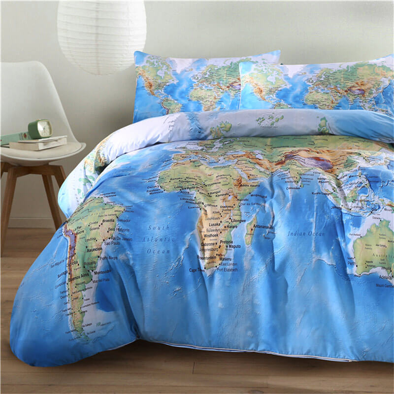 World Map Bedding Set Travel Bible Shop