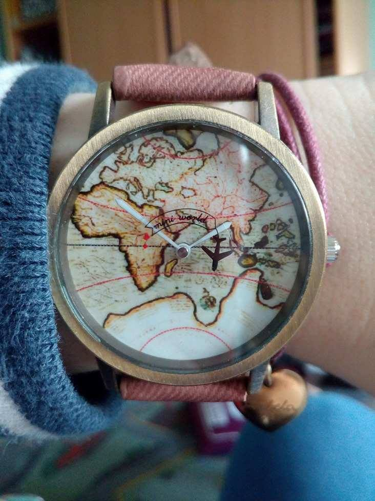 Spinning plane retro world map watch travel bible shop great watch such a lovely and hip watch its everything described the only thing i wish is that shipping was faster gumiabroncs Choice Image