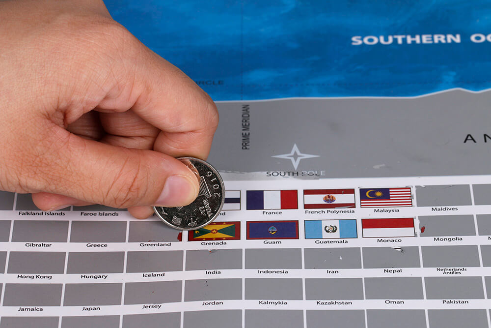 Silver Scratch Map With Flags And Us States Travel Bible