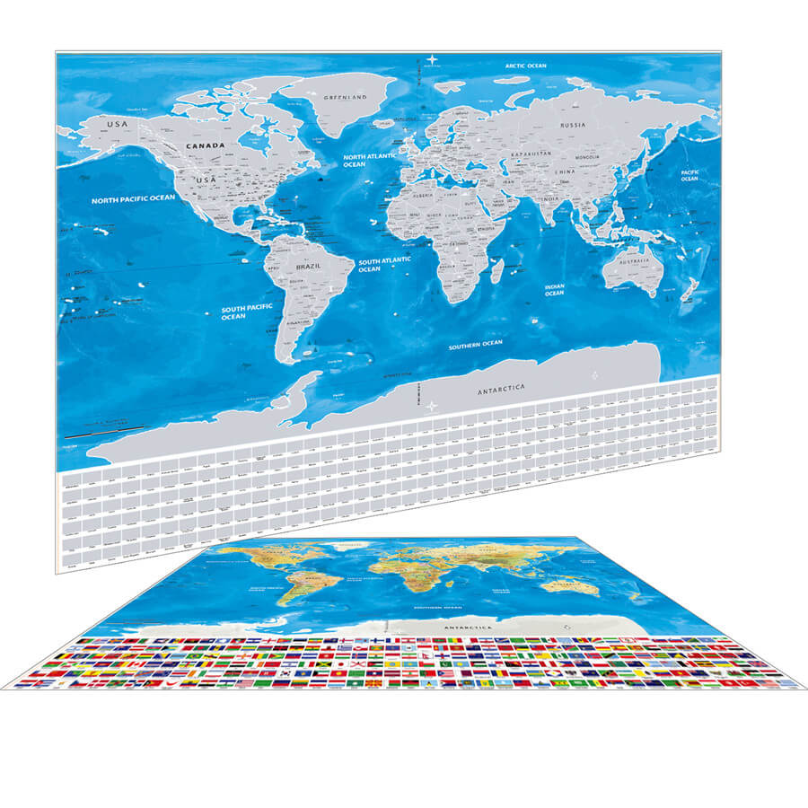 Silver Scratch Map With Flags And Us States Travel Bible Shop - Us-scratch-map
