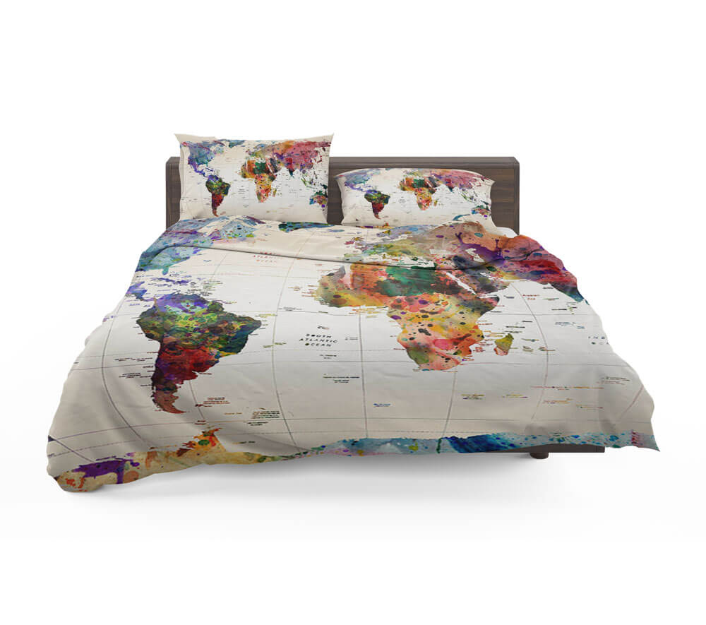 Watercolor world map with place names bedding set travel bible shop world map with place names bedding set sale gumiabroncs Gallery