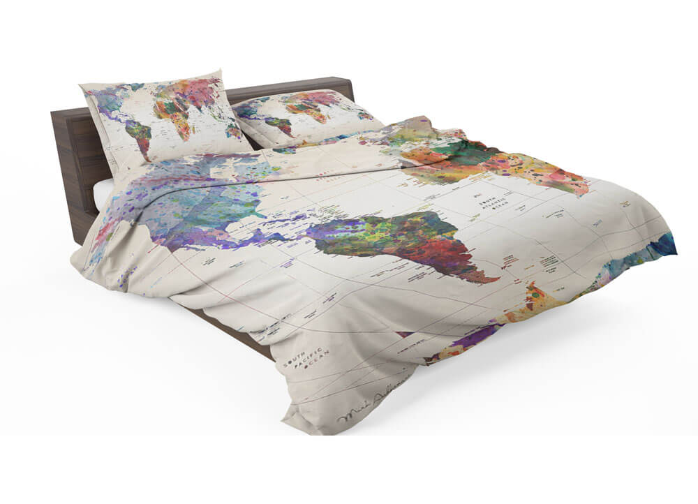 Watercolor world map with place names bedding set travel bible shop gumiabroncs Images
