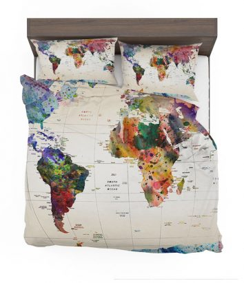 World map bedding set travel bible shop watercolor world map with place names bedding set gumiabroncs Choice Image