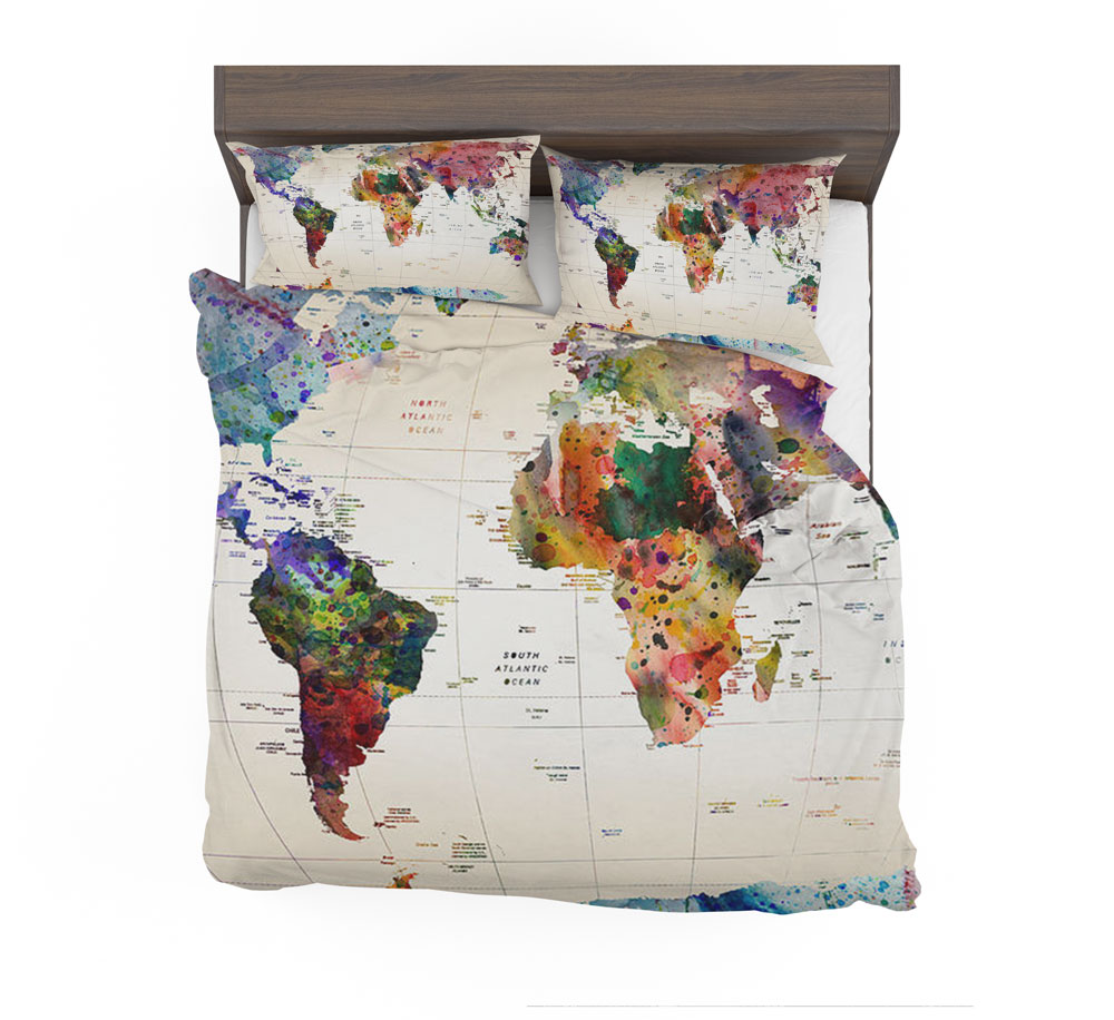 World Map Bedding Watercolor World Map With Place Names Bedding Set – Travel Bible Shop