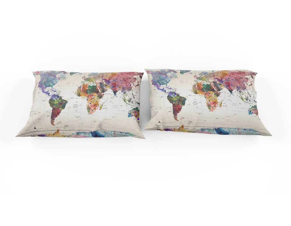 Watercolor world map with place names bedding set travel bible shop gumiabroncs Choice Image