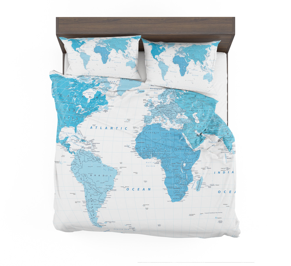 Blue World Map With Place Names Duvet Bedding Set – Travel Bible Shop