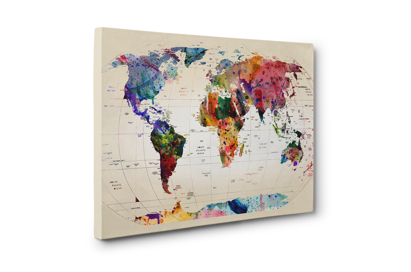 Watercolor World Map Canvas Print Travel Bible Shop