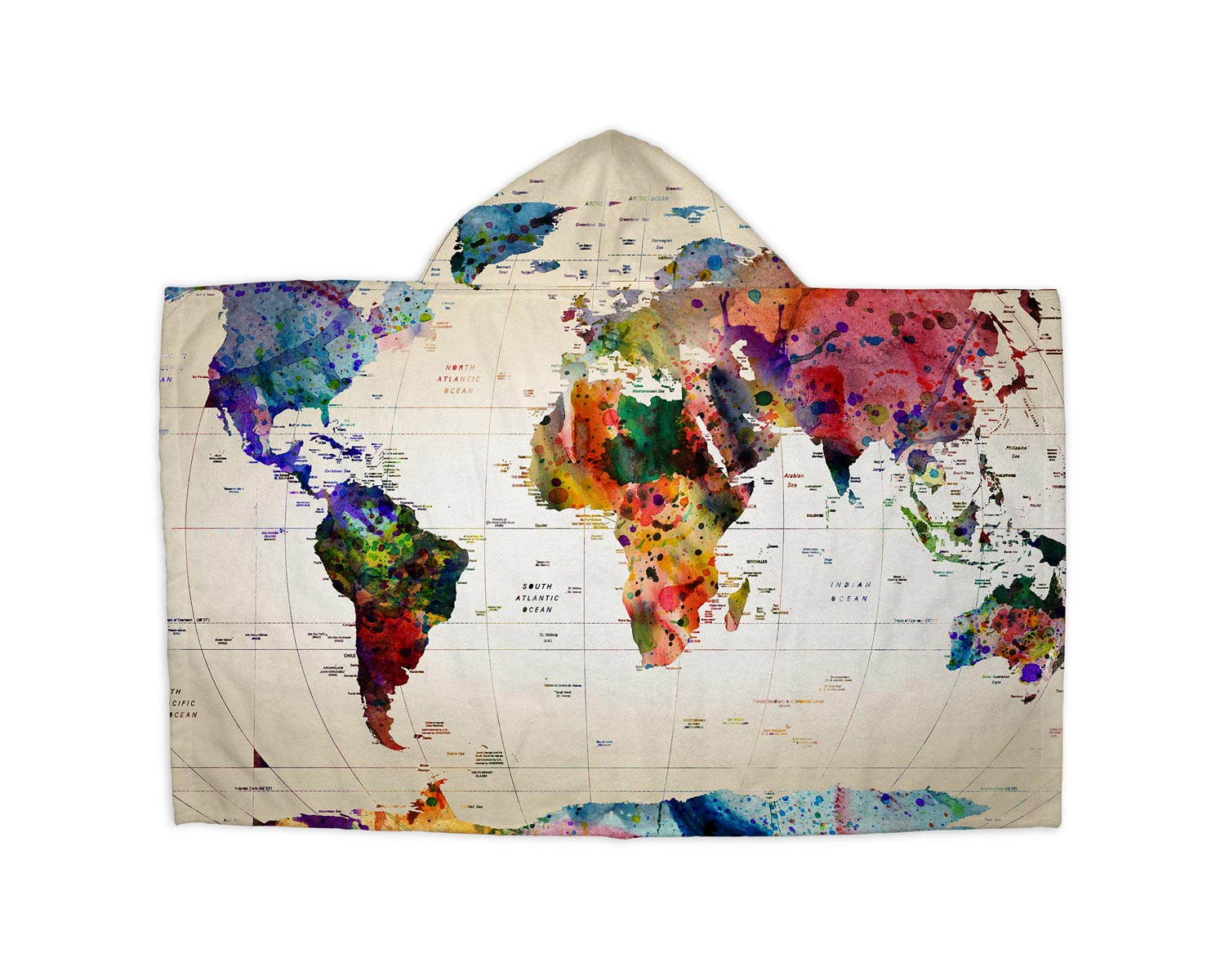 Watercolor World Map Hooded Blanket – Travel Bible Shop
