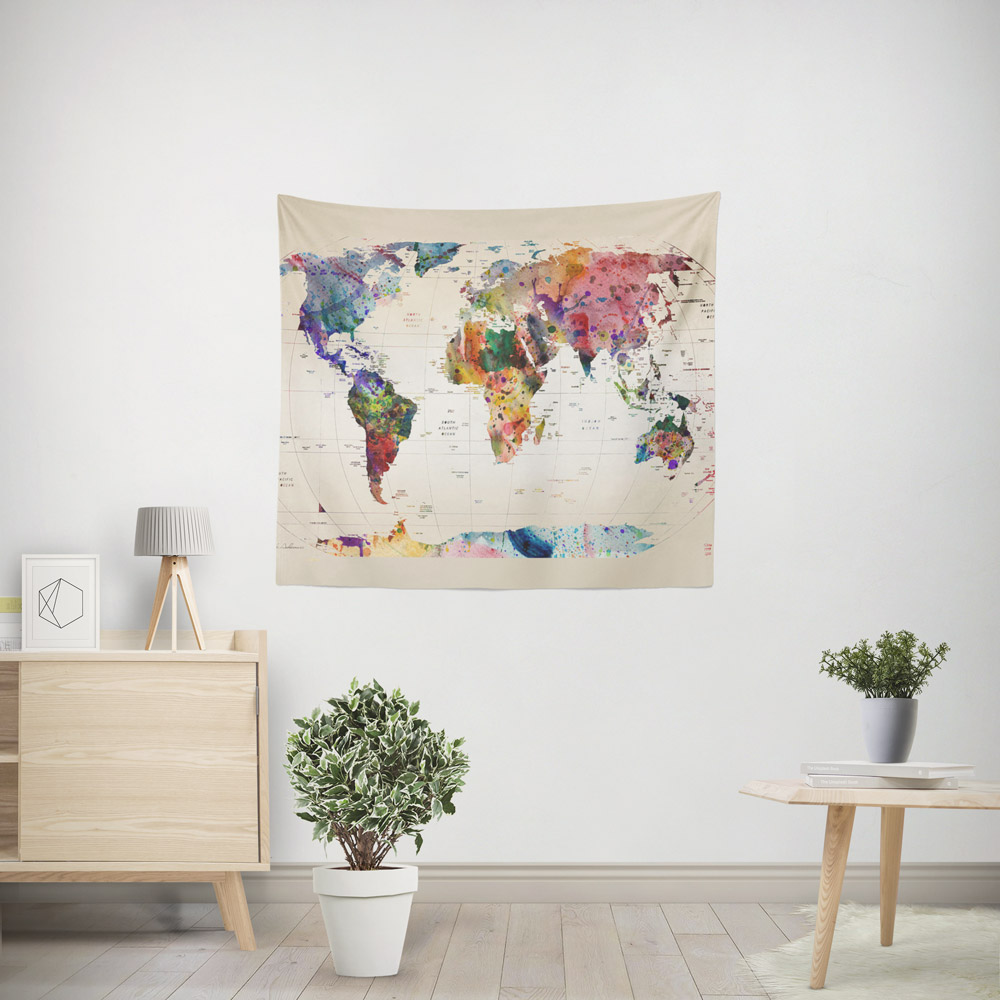 watercolor-world-map-tapestry-51×60
