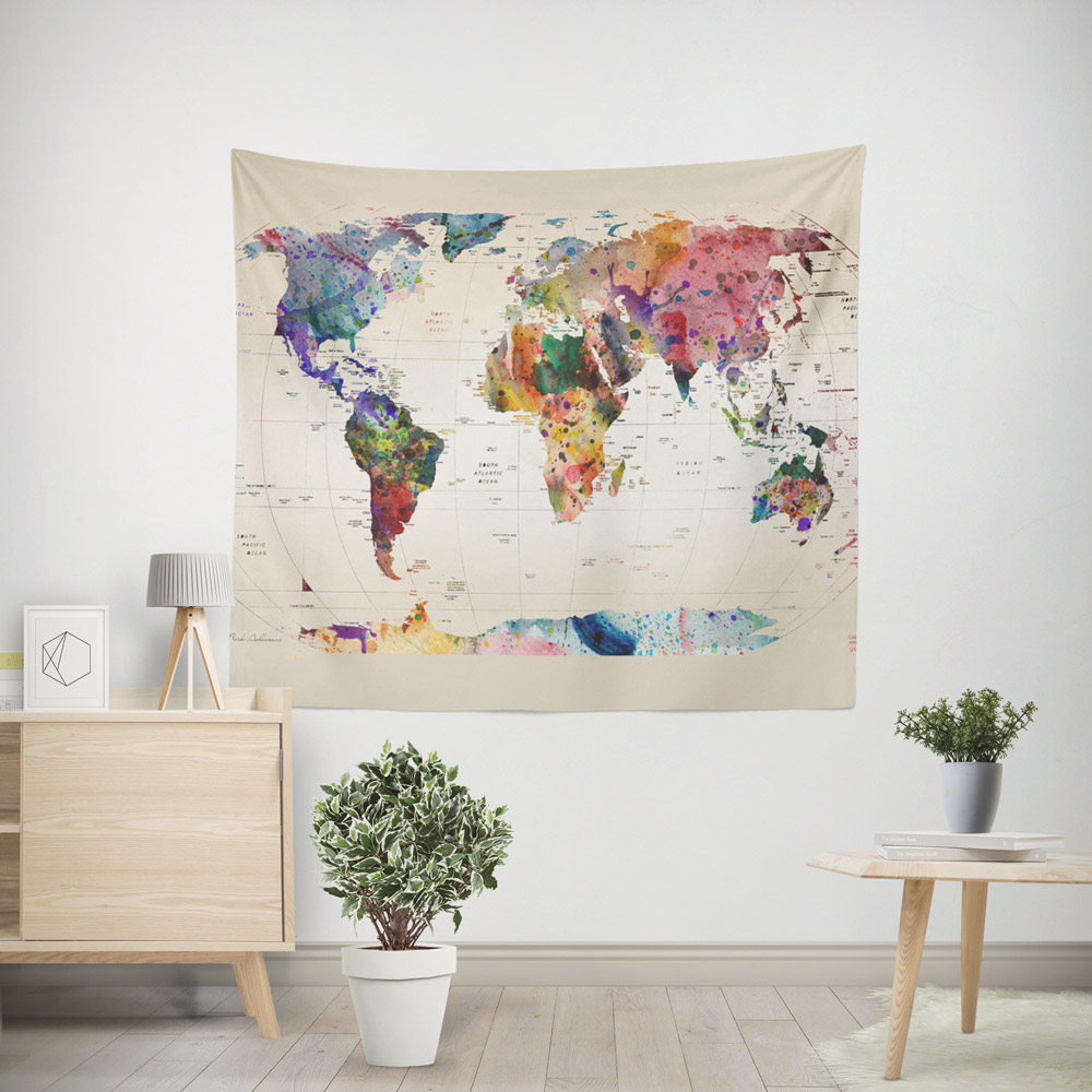 watercolor-world-map-tapestry-68×80
