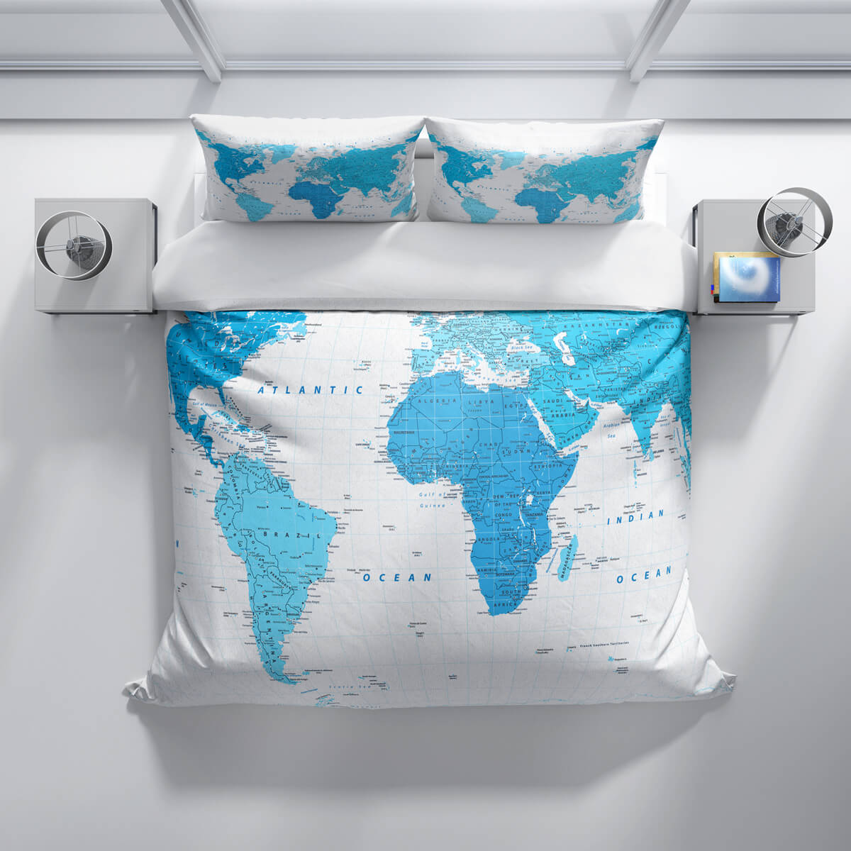 Blue World Map With Place Names Duvet Bedding Set