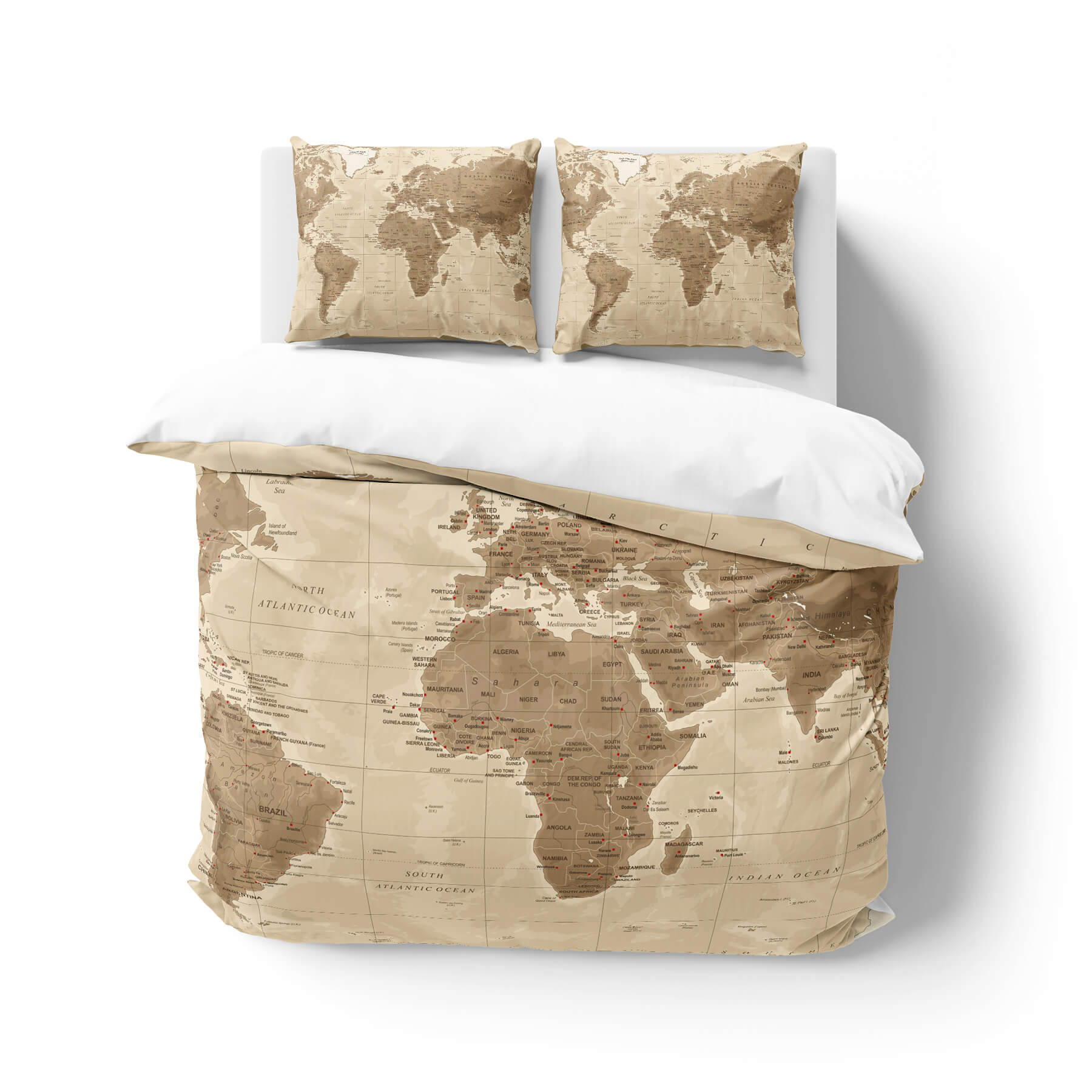 Old World Map Duvet Cover Bedding Set